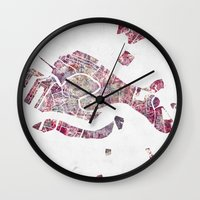 venice Wall Clocks featuring VENICE by MapMapMaps.Watercolors