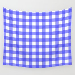 Plaid (Blue & White Pattern) Wall Tapestry