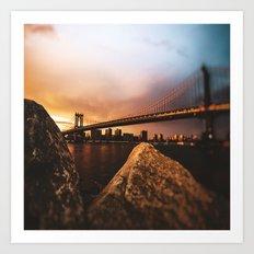 nyc skyline at dusk Art Print