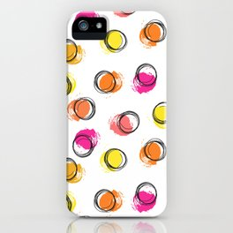 Colorful  brush blots and circle iPhone Case