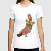 platypus T-shirts featuring duck-billed platypus linen by Sharon Turner