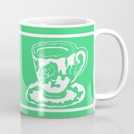 Green Rose Teacup Printmaking Art Coffee Mug