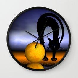 mooncats like playing with the moon -2- new paws Wall Clock