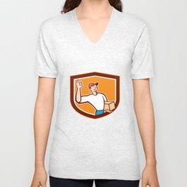 Delivery Man Okay Sign Shield Cartoon Unisex V-Neck