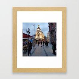 Madrid City Gran via Street Framed Art Print
