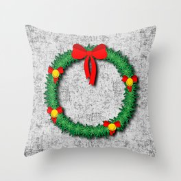 Christmas Wreath on textured background Throw Pillow
