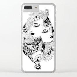 Ink drawing Zodiac Gemini Clear iPhone Case