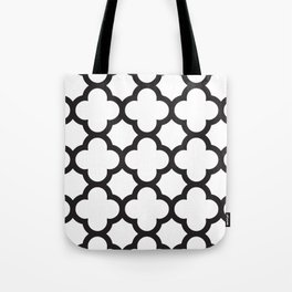 Black Quatrefoil Tote Bag