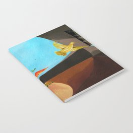 Old man painting pigeons children's book illustration Notebook