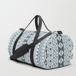 Aztec Stylized Pattern Gray-Blues & White Duffle Bag