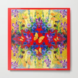 RED GARDEN  PURPLE FLOWERS YELLOW BUTTERFLIES Metal Print