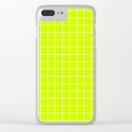 Volt - green color - White Lines Grid Pattern Clear iPhone Case