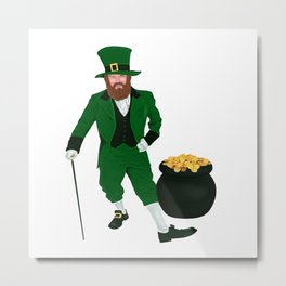Leprechaun with a Pot of Gold Metal Print