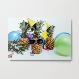 Pineapple Party Time Metal Print