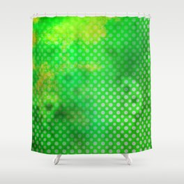 Texture in Green Flash with Polka Dots Shower Curtain