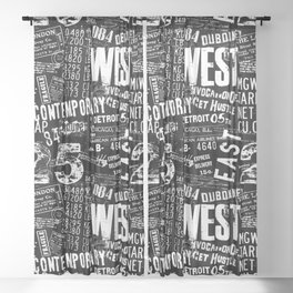 Grunge Text Black And White Sheer Curtain