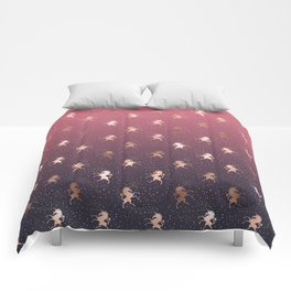 Modern Home Ombre Gold Unicorn Pattern Comforters