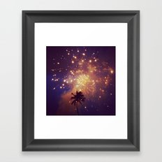 Palm tree fireworks Framed Art Print