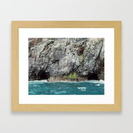 Ocean caves Framed Art Print