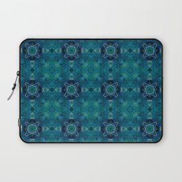 Turqise Square Ornaments Repeat Oriental Geometric Bohemian Lineart Laptop Sleeve