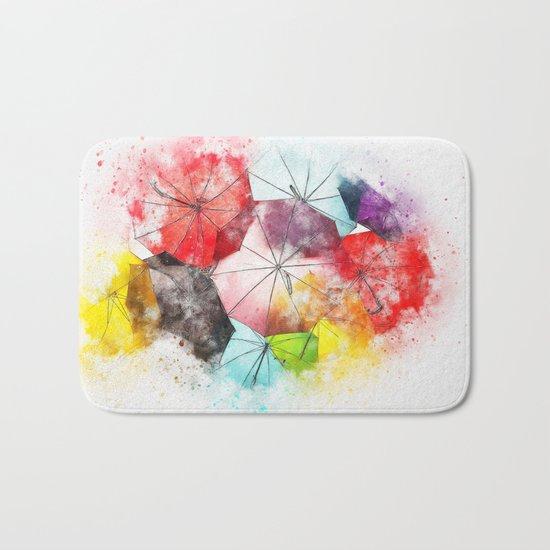 Umbrella Watercolor Bath Mat