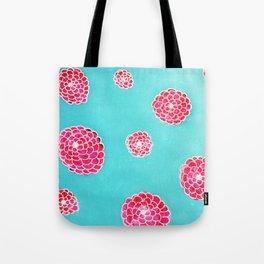 Pink flowers in blue Tote Bag