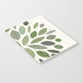 Mid-Century Green Leaves Notebook