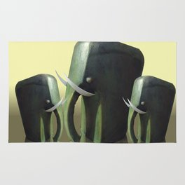 Mother elephant with two calves Rug