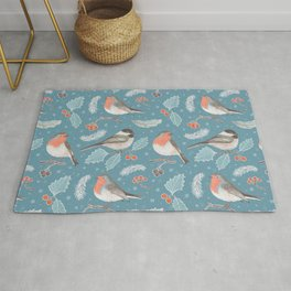 Robins and Frosted Leaves Rug