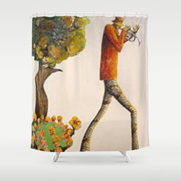African American Masterpiece 'Walking the South and Playin' Jazz' by Benny Andrews Shower Curtain