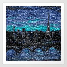 Eiffel Tower, Paris, Mosaic Night Art Print