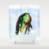 marley Shower Curtains featuring Marley in the Sky by Andre Ferraz digital & Fine Art