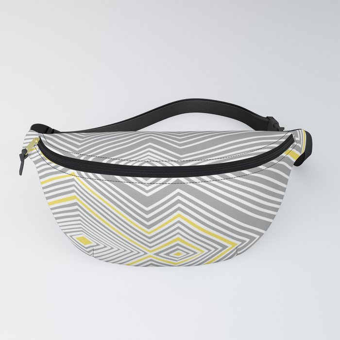 White, Yellow, and Gray Lines - Illusion Fanny Pack