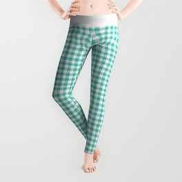 Modern green white checker picnic stripes pattern Leggings