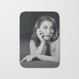 """Bored Now"" - The Playful Pinup - Modern Boudoir with Piercing by Maxwell H. Johnson Bath Mat"