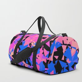 geometrical retro bold neon pink, blue and purple triangle shapes pattern digital design Duffle Bag