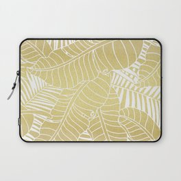 Golden tropical leaves Laptop Sleeve