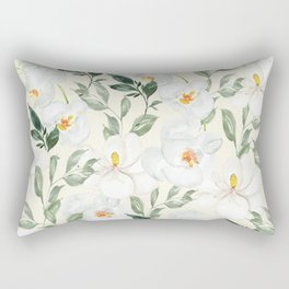 Magnolia and Orchid Blossoms Watercolor Rectangular Pillow