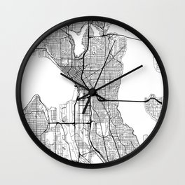Seattle Map White Wall Clock