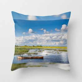 Old wooden boat in Biebrza wetland Throw Pillow
