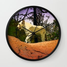 King of the Mountain - Young White Lion Wall Clock