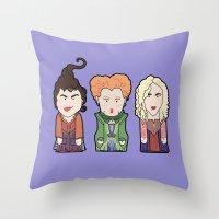 hocus pocus Throw Pillows featuring Hocus Pocus by Big Purple Glasses