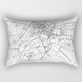 Vintage Map of New Haven Connecticut (1893) BW Rectangular Pillow
