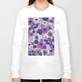 Red Violet and Navy Anemones Long Sleeve T-shirt