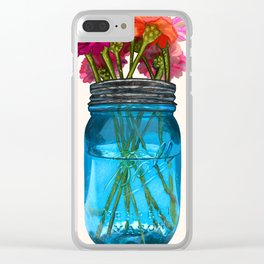 Perfect Mason Jar With Flowers Clear iPhone Case