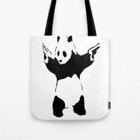 banksy Tote Bags featuring Banksy Panda1 by vie3