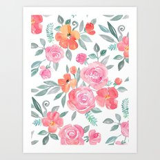 Amelia Floral in Pink and Peach Watercolor Art Print