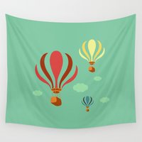 hot air balloon Wall Tapestries featuring Hot Air Balloon Ride by Irene Chan