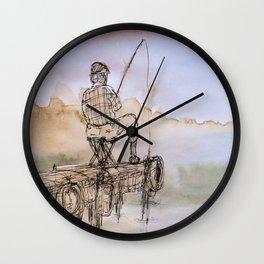 Fisherman Watercolour Wall Clock