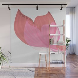 Pink and Coral Red Mimimalist Mermaid Tail Wall Mural